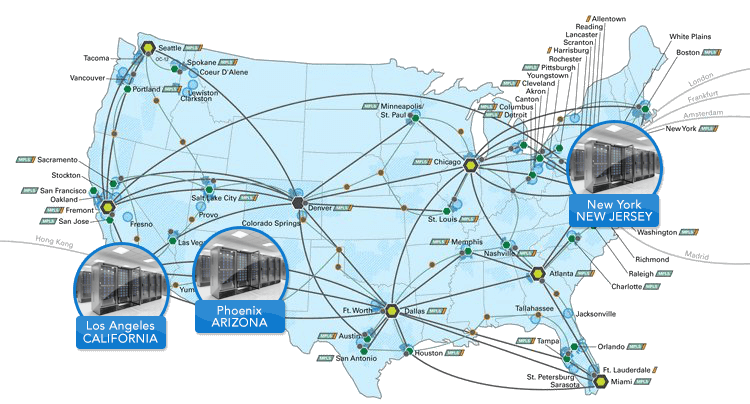 Global IT Network and Data Center map
