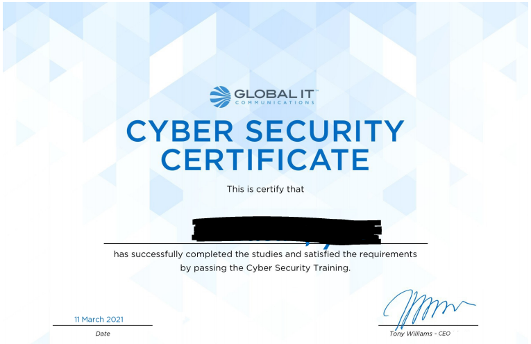 cyber security training with certificate